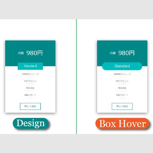 ボックスのホバーエフェクト時のデザイン