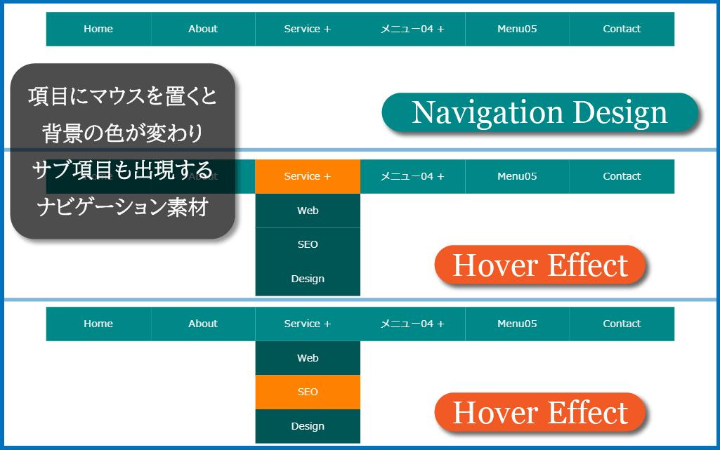 ドロップダウンメニューのデザインイメージ